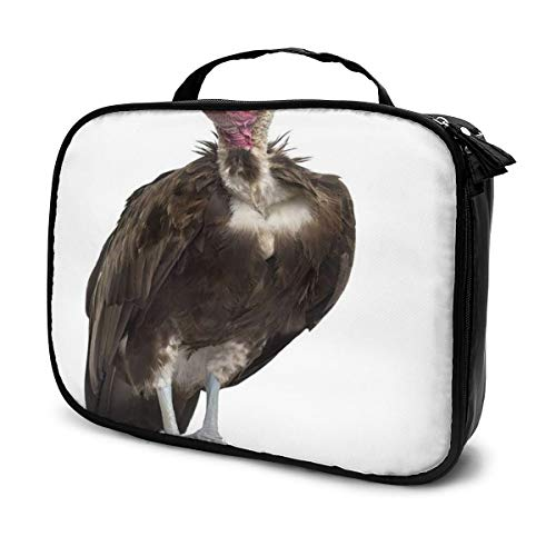 SZshenya Waterproof Cosmetic Bag With Handle, Portable Travel Cosmetics Bag For Women Hooded Vulture Necrosyrtes Monachus 11 Years Old In Front