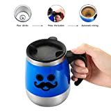 Travel coffee mug, LEADNOVO Self Stirring Coffee Mug Electric Stir Stainless Steel Automatic Self Mixing Cup for Morning Office Travelling 450ml/15.2oz (Blue)