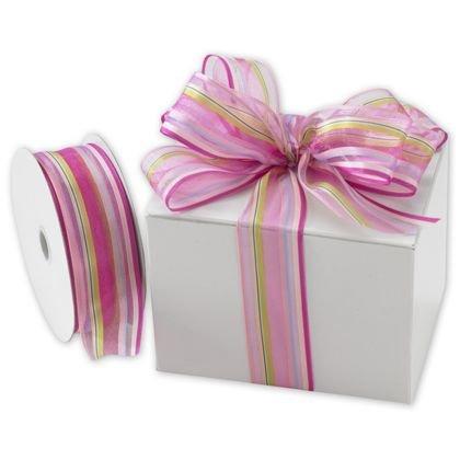 Ribbons Striped Pattern - Devan Stripe Pink/Berry Ribbon, 1 1/2
