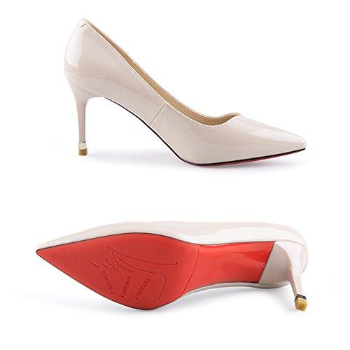 Pour Couleur Haut Chaussures Femmes Cuir Talon Été Verni taille Femme Abricot Bout En Printemps Pour Et Escarpins Ouvert 38 JIANXIN À Et U4wvqOA