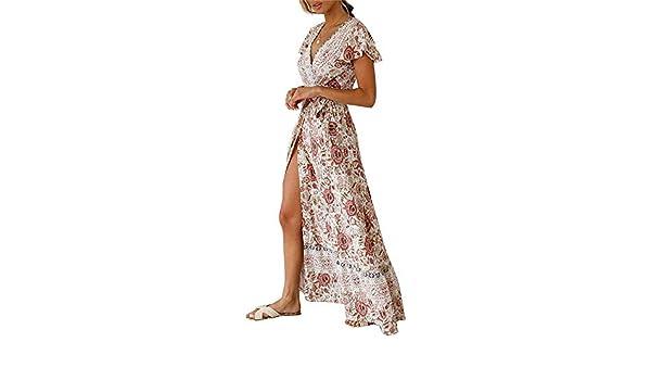 c27d5d94d8e0b Vestido de playa de verano de las mujeres Vestido de playa bohemio de las  mujeres vestido de manga corta con cuello en V con estampado floral de la  vendimia ...