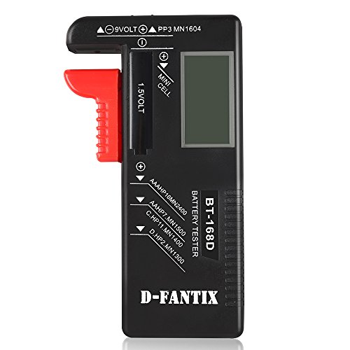 D-FantiX Digital Battery Tester for AAA AA C D 9V 1.5V, Household Battery Checker Tester for Small Batteries Button Cell (Model: BT-168D)