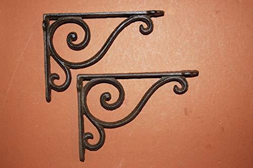 f 2 Old Fashioned Cast Iron Shelf Brackets 6 5/8 inch, Vintage-Look Swirl Design, B-5 ()