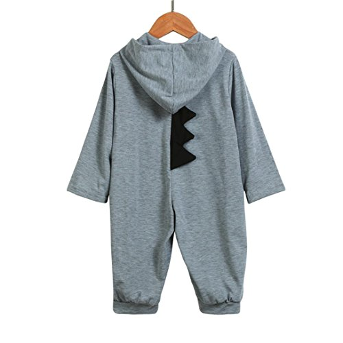 Dinosaur Costume Snow (Lotus.flower Unisex Baby Dinosaur Costume Lovely Hooded Rompers Newborn Outfits (3 Months, Gray))