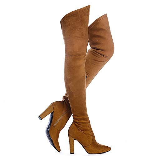 Shoe'N Tale Women Stretch Suede Chunky Heel Thigh High Over The Knee Boots (7.5 B(M) US, Camel) ()