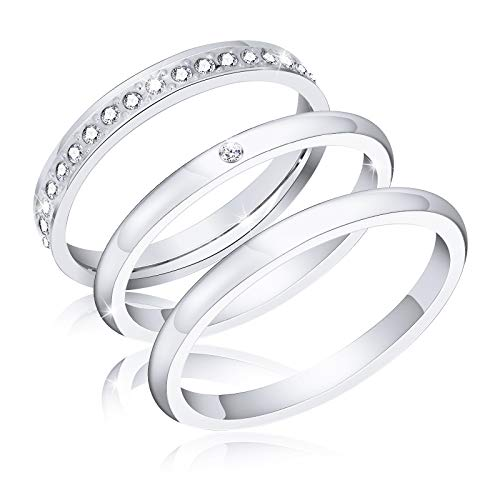 ivyAnan Jewellery 3Pcs 2mm Women's Stackable Eternity Ring Band Engagement Wedding Ring Sterling Silver Rings Set 5-9 (Silver, 7) ()