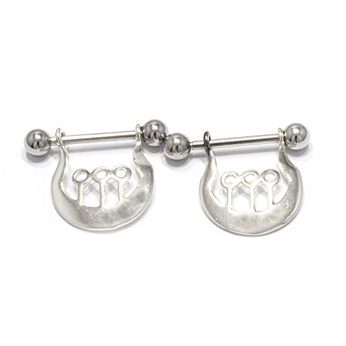 (Pierceplex Pair of Nipple Shield 14G Sterling Dangle Cover with Steel Barbell)