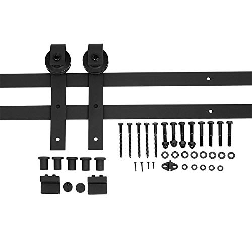 AmazonBasics Sliding Barn Door Hardware Kit, 6.6 Foot, J Shape, Black (Barn Track)