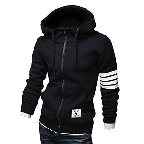 ZUEVI Men's Casual Striped Drawstring Hooded and Zipper Closure Hoodies(Black-L)