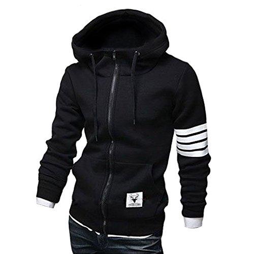 ZUEVI Men's Casual Striped Drawstring Hooded and Zipper Closure Hoodies (Black-XL)