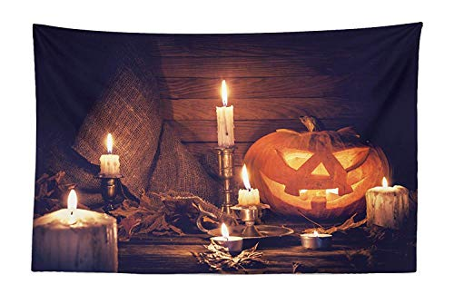 SODIKA Halloween Tapestry, Rustic Home Wooden Planks Burning