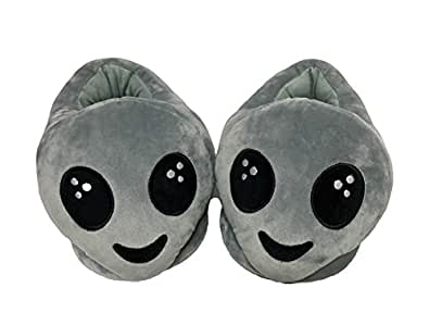 PLUSHERS Original Premium Quality Alien Emoji Slippers Grey Size: Mens
