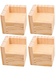 """Pack of 4 Bed Risers Square Wooden Furniture Risers, Add 2"""" Height to Sofa,Desks,Tables and Chairs Creat Underbed Storage"""