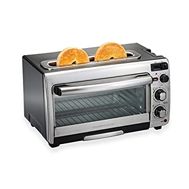 Hamilton Beach 31156 2-in-1 Countertop Oven and Long Slot Toaster, Stainless Steel, 60 Minute Timer and Automatic Shut Off
