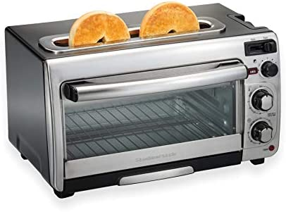 Hamilton Beach 2-In-1 Countertop Oven And Long Slot Toaster, Stainless Steel, 60 Minute Timer And Automatic Shut Off 31156 , Large