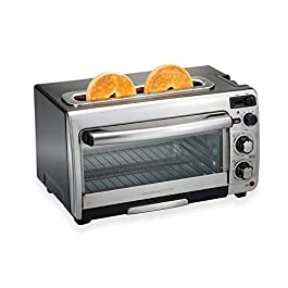 Hamilton Beach 2-in-1 Countertop Oven and Long Slot Toaster, Stainless Steel, 60 Minute Timer and Automatic Shut Off…
