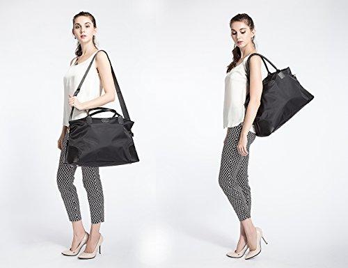 ECOSUSI Unisex Large Travel Weekender Bag Duffle Bag Gym Totes in Trolley Handle, Black