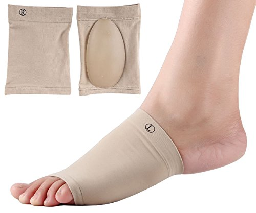 Dr. Foot's Arch Support Socks - Plantar Fasciitis Flat Feet Orthotics Sleeves with Gel Cushion - 2 Pieces