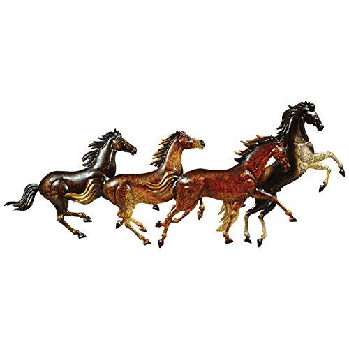 Black Forest Décor Running Horses Metal Wall Art (Metal Sculpture Horse)