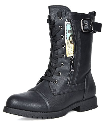 Wide Calf Halloween Boots (DREAM PAIRS Women's New Mission Black Combat Mid Calf Boots Size 9.5 B(M))