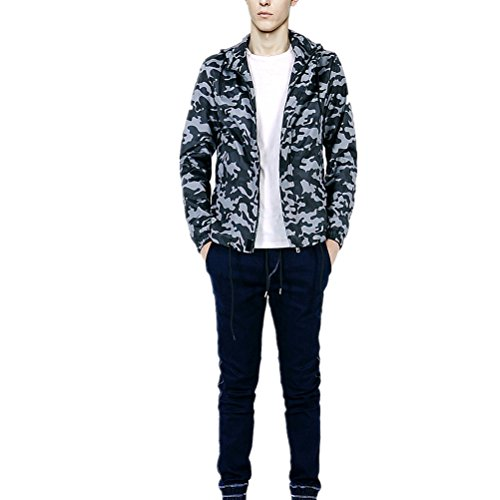 Yougao Men's Camouflage Zipper Jacket with Hood,Pockets Dark Camouflage L