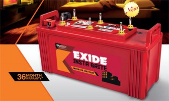 EXIDE INDUSTRIES 150Ah Insta Brite Inverter Ups Battery 2021 June 36 Months Warranty Easy Maintenance: Float/Float Guide To Indicate Electrolyte Level Easy Handling/Spill-Proof: Moulded Handles To Ensure Eeasy Handling.Top Vented Lid With Anti-Splash Guards Fitted With Coin Flush Vent Plugs