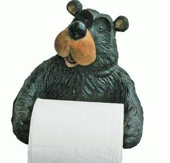 Willie Black Bear Holding Roll Of Toilet Tissue Wall Mounted Toilet Paper Holder Rack 7.5""