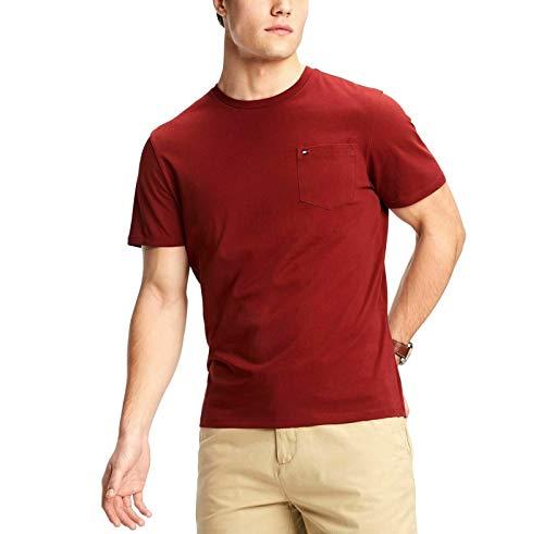 Tommy Hilfiger Solid Deep Mens Large Crewneck Tee Shirt Red L