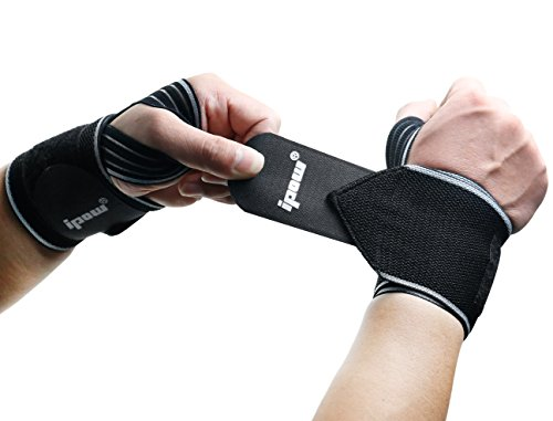 Wrist Velcro (Ipow 2 Pack Strong Support Breathable Adjustable Wrist Wraps Straps Braces best for Weight lifting, Loading freight, Typing, Relieve Wrist Pain, Sprains, Carpal Tunnel)