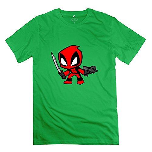 StaBe Men Deadpool Cartoon T-Shirt XXL ForestGreen Unique Vintage