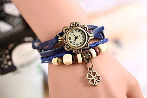 Liroyal Quartz Stylish Weave WRAP Around Leather Bracelet Lady Woman Wrist Watch(Four Leaf Clover)