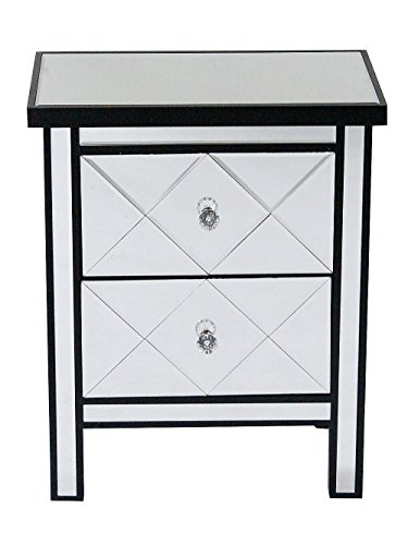 Heather Ann Creations Modern Beveled Mirrored Finished 2 Drawer Accent Chest Nightstand, 20
