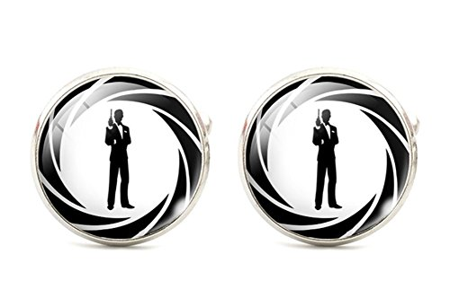 Steampunk - Classic James Bond 007 - Men's Cufflinks Cuff Links - Groomsmen Wedding Best Man Gift (Steampunk Superheroes)