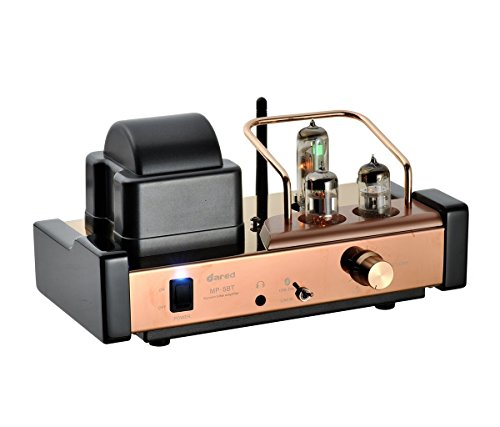 Dared MP-5BT HIFI Audiophiles Professional Valve Amplifier Bluetooth Stereo Multi-Channel Hybrid Integrated Amplifier,Bluetooth/USB DAC/Headphone,25W*2,with 6N1*1,6N2*1,6E2*1 Tube (Rose Gold) Dared