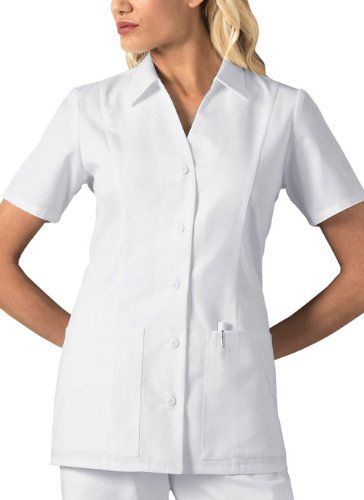 Women's White Stand Collar Button Front Medical Uniform Top by Cherokee