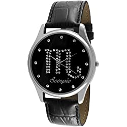 Crystal Studded Face Zodiac Horoscope Black Leather Silver Watch - Scorpio