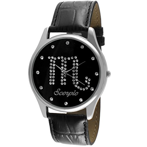 Crystal Studded Face Zodiac Horoscope Black Leather Silver Watch - Scorpio