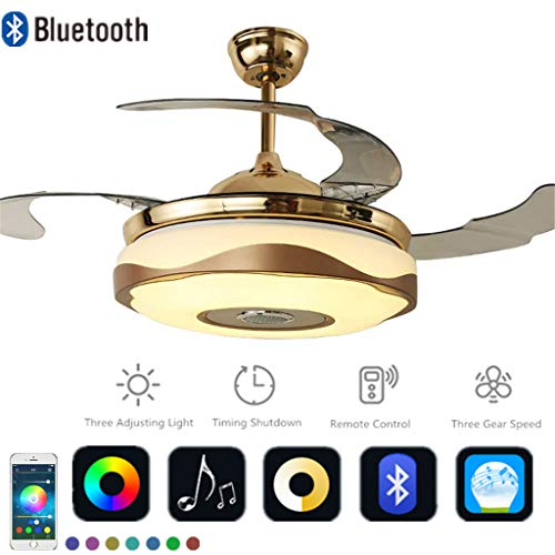 (Multi-function Ceiling Fan with Blutooth Speaker Dimmable LED Lights Remote Control Pendant Chandelier Fixtures Retractable Blades Colorful Lights for Living room, Bedroom, Dining room (36in-Gold))