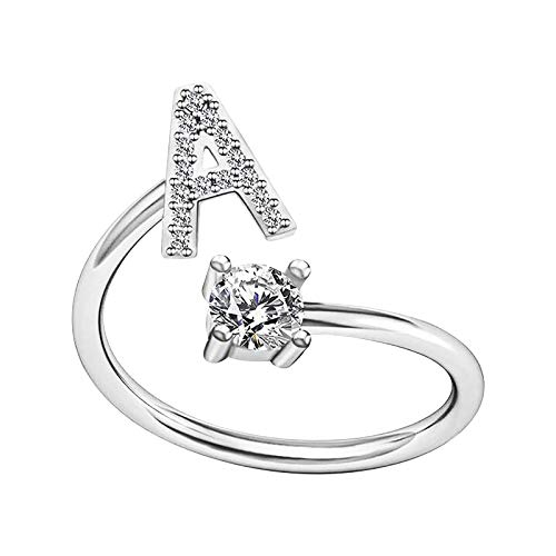 Fashion Initial Letter Ring Alphabet Ring A-Z Silver Crystal Open Adjustable Personalized Initial Ring Crystal Wedding Stacking Ring for Women Teen Girls (A)