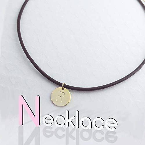 Personalized Leather Disc Initial Necklace/Gold White Gold Plated/Black Brown Leather Chain/Christmas Bridesmaids Gift