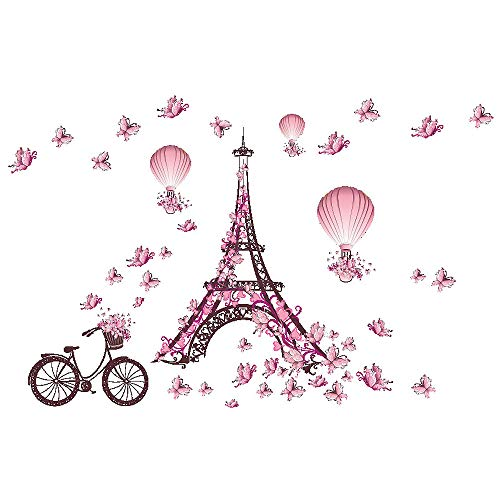 Homefind (Pink 39w x 26h) Paris Eiffel Tower Bicycle Butterflies Wall Stickers Wedding Room Living Room Bedroom Girls Room Wall Decals Removable Self Adhesive Vinyl Murals Home Décor