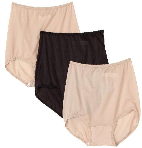 Bali Women's 3-Pack Skimp Skamp Brief Panties ,2 Nude/1 Black, Size 8