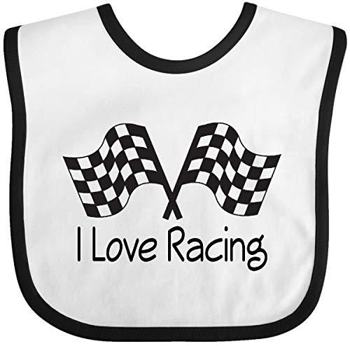 Inktastic I Love Racing Baby Bib White/Black