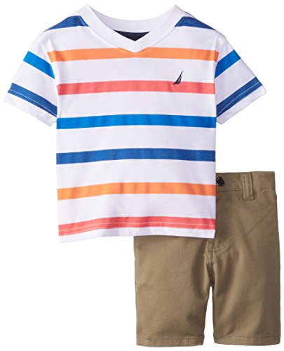 Nautica Baby Boys' V-Neck T-Shirt and Twill Short Two-Piece Set