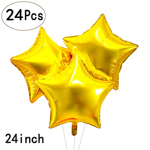 24 Inch Glitter Gold Stars Foil Balloon Wedding Party Mylar Balloons Metallic Pentagram Helium Balloons Engagement Party Nursery Baby Shower Birthday Party Favors Balloons Decorations, 24pc -