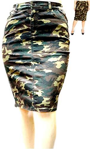 Jack David Sexy Womens Plus Size Stretch Denim Jeans Casual Twill Cotton Skirt Modern Series (1X, N2610 Camouflage)