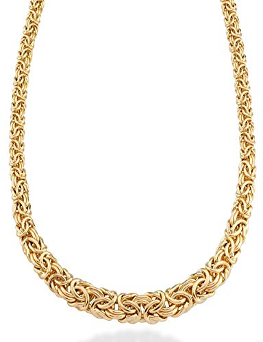 Miabella 18K Gold Plated Sterling Silver Italian Graduated Byzantine Chain Necklace for Women, 17, 18, 20 Inch 925 Handmade in Italy (20)