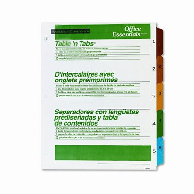 Office Essentials Office Essentials Table 'N Tabs Dividers, 1-5, Letter, Set [Set of 4]