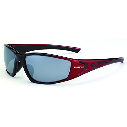 Crossfire Eyewear 23233 RPG Safety Glasses with Black and Red Frame and Silver Mirror - Sunglasses Crossfire