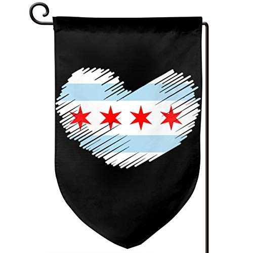 Chicago Flag IN HEART SHAPE Fashion Outdoor/Home Demonstration Flag Holiday Garden Flag 12.5